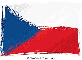 tchèque, grunge, drapeau, république