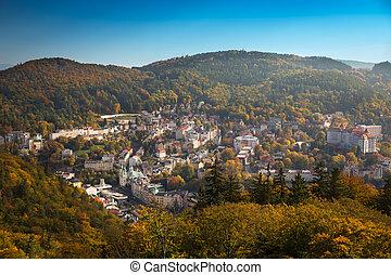 tchèque, jour automne, république, sans nuages, temps, ...