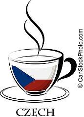 tchèque, logo, café, fait, drapeau