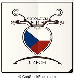 tchèque, logo, drapeau, fait, motocyclette