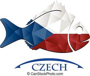 tchèque, logo, fish, fait, drapeau