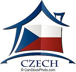 tchèque, maison, drapeau, fait, icône