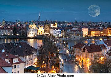 tchèque, panorama, prague, republic., nuit