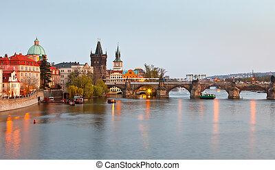 tchèque, pont, charles, république, prague