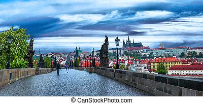tchèque, prague, capital, state., république, historique, sights., européen
