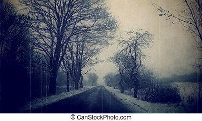 tchèque, republic., hiver, route