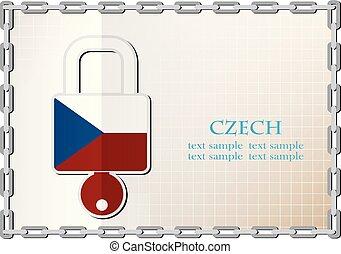 tchèque, serrure, drapeau, fait, logo