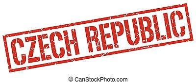 tchèque, timbre, carrée, république, rouges
