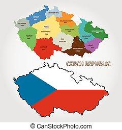 tchèque, vecteur, république, carte