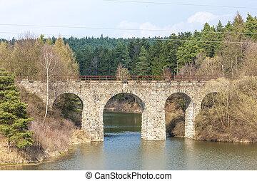 tchèque, viaduc, dolni, république, karlovice, ferroviaire