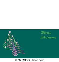 tchórzliwy, kartka na boże narodzenie, świecący, drzewo
