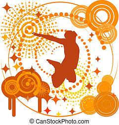 tchórzliwy, pomarańczowe tło, z, przedimek określony przed rzeczownikami, sylwetka, od, niejaki, man., eps10