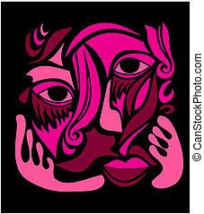 tchórzliwy, sztuka, abstrakcyjna twarz