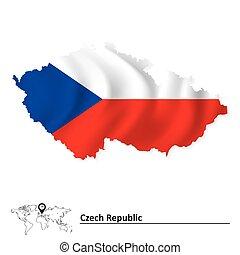 tcheco, mapa, bandeira, república