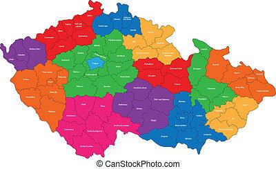 tcheco, mapa, república