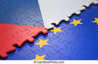 tcheco, quebra-cabeça, bandeira união, república, europeu