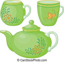 teáskanna, és, csészék