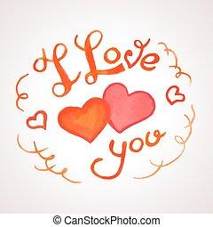 te amo, acuarela, letras