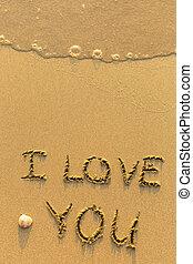 te amo, -, dibujado, en, playa de arena