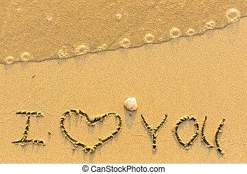 te amo, -, escrito, en, arenoso