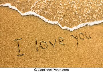 te amo, -, inscripción, en la playa, arena, suave, oleaje, onda