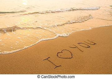 te amo, -, inscripción, en la playa, arena, suave, oleaje, wave.