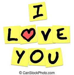 te amo, -, palabras, en, amarillo, notas pegajosas