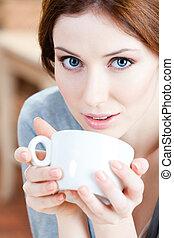 te, blåögda, kvinna, kopp