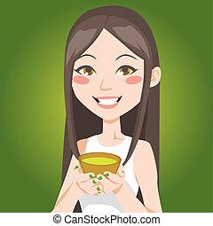 te, grön, kopp