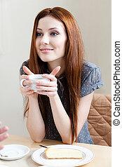te, kvinna, kopp