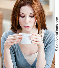 te, kvinna, skapande, kopp