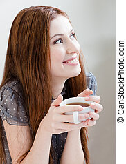 te, kvinna, smiley, kopp
