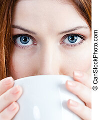 te, kvinna, ung, kopp