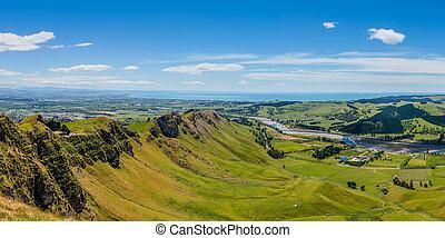 Panoramic view from Te Mata Peak Hawkes Bay New Zealand