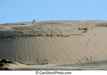 Two people on Te Paki sand dunes in Northland New Zealand.