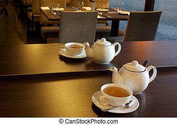 te, suddig, cafe, bakgrund, kopp