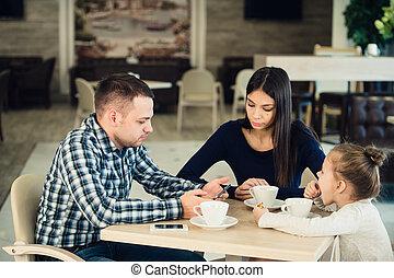 tea, élvez, kávéház, együtt, család
