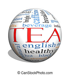 Tea 3D sphere Word Cloud Concept