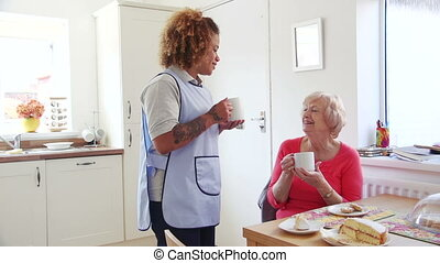 Tea and Cake Break - Senior woman talking to her home...