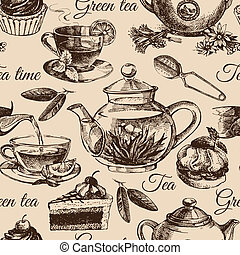 Tea and cake seamless pattern. Hand drawn sketch...