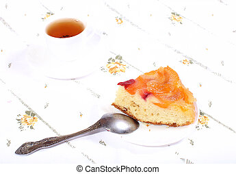 tea and cake with apricots