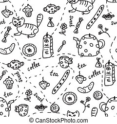 Tea and coffee doodle seamless pattern