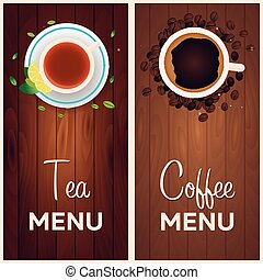 Tea and coffee menu. Wooden background. Vector illustration.