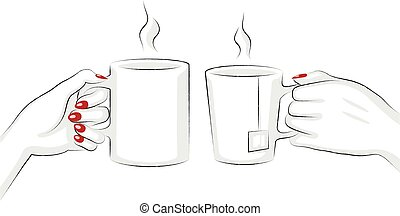 Tea And Coffee Mugs Toasting - Vector Illustration Of Hands...