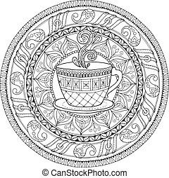 Tea and coffee theme. Circle tribal doodle ornament with cup of coffee. Hand drawn art mandala. Black and white ethnic background. Zentangle pattern for coloring book for adults and kids.