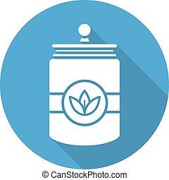 Tea and herbs jar. Flat design long shadow icon
