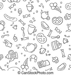 Tea and sweets seamless background