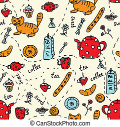 Tea and sweets seamless pattern with cats