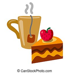tea and tart - illustration of the coffee cup with a slice ...