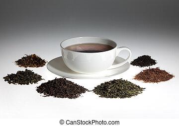 Tea assortment around the white cup of tea